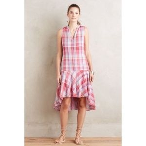 Anthropologie Maeve Pippa Plaid Swing Dress Pink